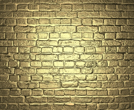 Gold background  Brick wall  Stock Photo