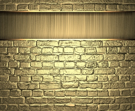 golden brick wall with a strip photo