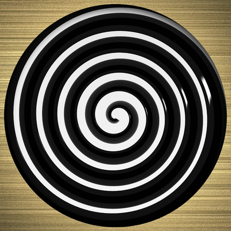 disorient: black and white twirl as an abstract background on a gold background