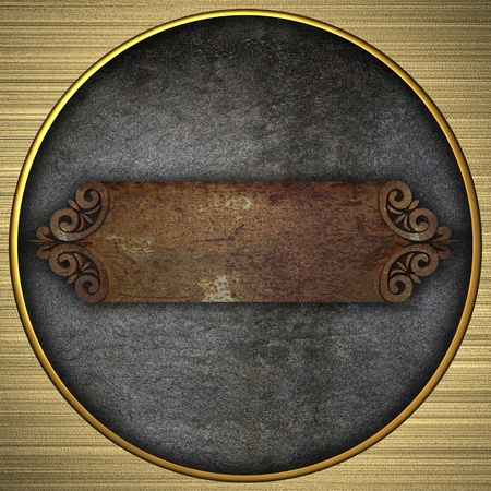 template metal plate with a gold wood stripe  photo
