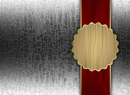 Silver background with red texture stripe layout with gold circle photo