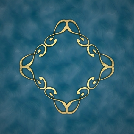 Gold pattern on a blue background photo