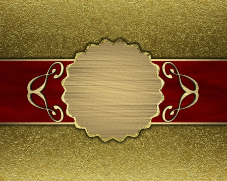 Gold background with a red stripe and patterned circle photo