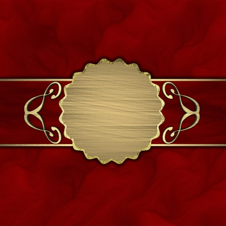 Red background with a red stripe and a gold circle Stock Photo - 13974709