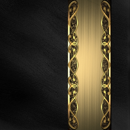 keywords background: Black background with gold texture stripe layout  nameplate for the label  Stock Photo
