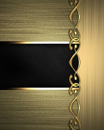 Gold background with Black texture stripe layout  nameplate for the label  photo