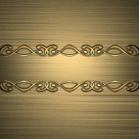 Gold background with a gold frame with patterns  nameplate for the label  photo