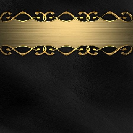 Beautiful gold plate with a pattern on a black background  nameplate for the label  Stock Photo - 14125098