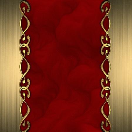 金: 赤の背景に、ラベルの端の銘板で美しい金の装飾品 写真素材