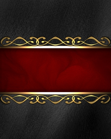 Beautiful gold pattern on a black background with red insert  nameplate for the label  photo