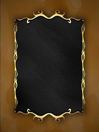 Yelow Background with Black plate and gold trim  nameplate for the label  Stock Photo
