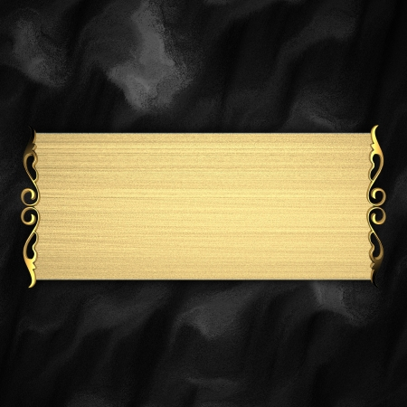 Black Background with Gold plate Stock Photo - 14124669