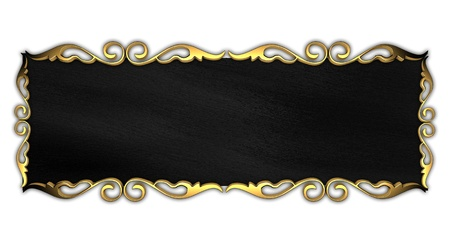 White Background with Black plate and a beautiful gold trim Stock Photo - 14124660