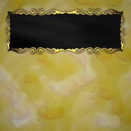 Gold pattern on the edges of the black border on a yellow background Stock Photo - 14124663