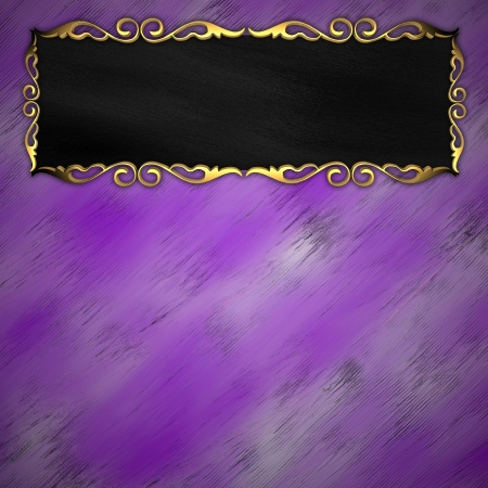 Gold pattern on the edges of the black border on a purple background Stock Photo - 14124665