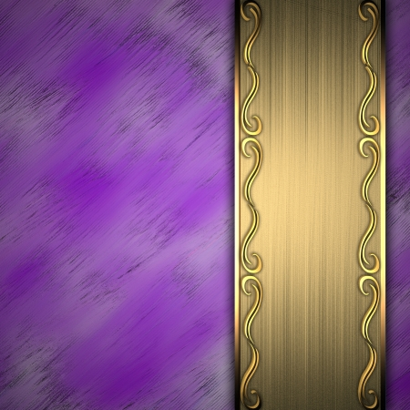 gold plaque: Beautiful pattern on a gold plate on a purple background Stock Photo