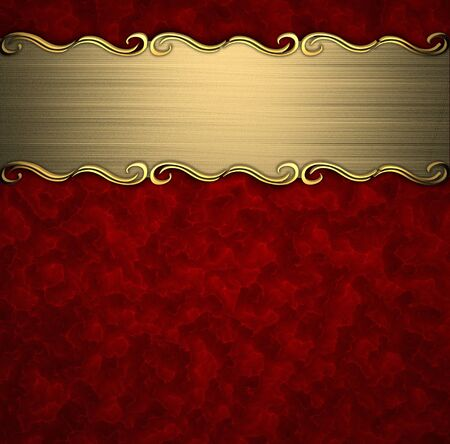 placa bacteriana: Patrón de belleza en una placa de oro sobre un fondo rojo