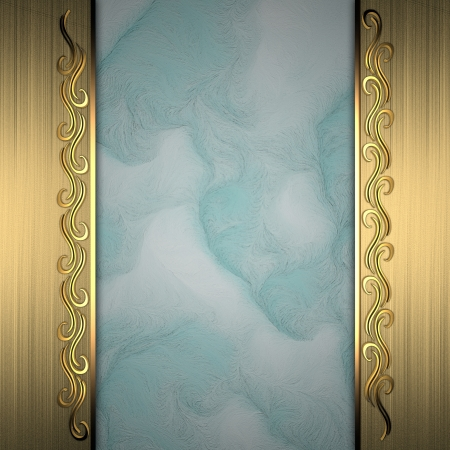 Beautiful pattern on a gold frame on a blue background Stock Photo - 14124460