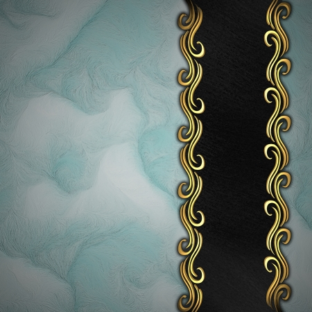 Beautiful pattern on a gold plate on a blue background Stock Photo - 14124451