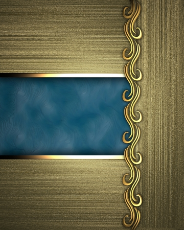 gold background with a gold plate with blue accents Stock Photo - 14124237