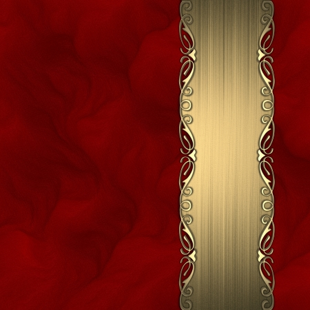 Beautiful pattern on a gold plate on a red background photo