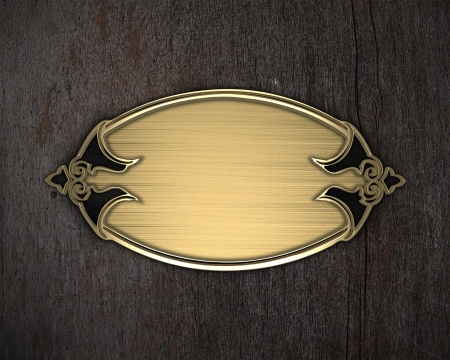 nameplate: Beautiful frame on a gold nameplate on a wood background