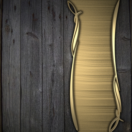 Wooden background with gold texture stripe layout photo