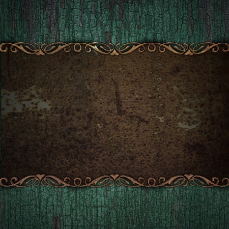 wooden background with rust metal plate photo