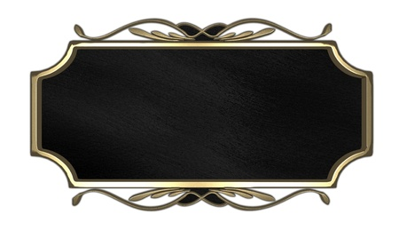 Black nameplate with a gold patterned photo