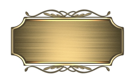 Gold nameplate with a gold patterned Stock Photo