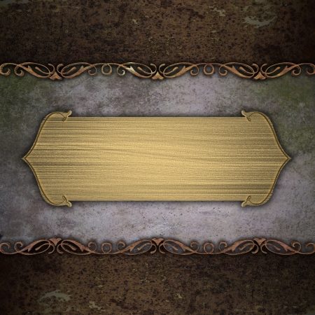 nameboard: ad, announce, announcement, background, blank, brochure, certificate, christmas, classy, design, elegant, fancy, frame, gold, grunge, hang, iron, jade, label, metal, nameboard, nameplate, old, panel, pattern, poster, presentation, ragged, ribbon, rich, ru Stock Photo