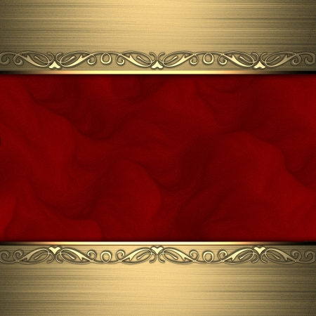 Red background with beautiful gold ornaments at the edges photo
