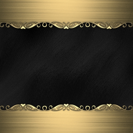Black background with beautiful gold ornaments at the edges photo