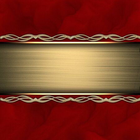 Red background with gold texture stripe layout photo