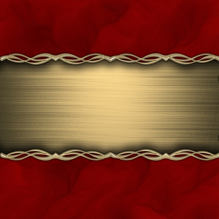Red background with gold texture stripe layout