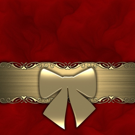 Gift ribbon on red background  gold  photo
