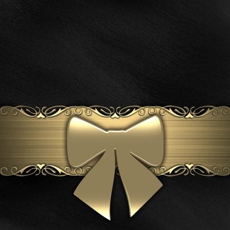 ruban noir: Ruban cadeaux sur fond noir d'or Banque d'images