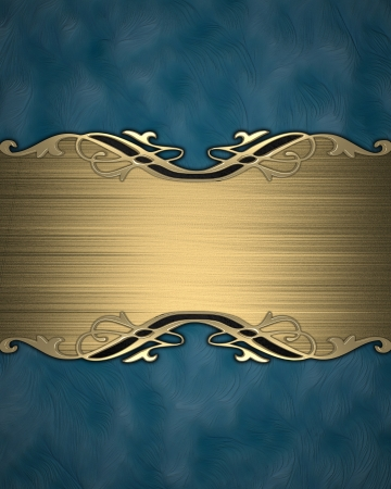 Pattern on a gold plate on a blue background