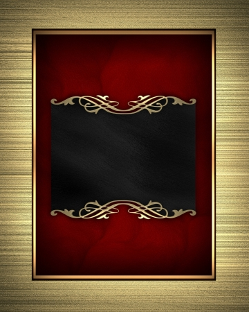 Gold frame isolated on red background photo