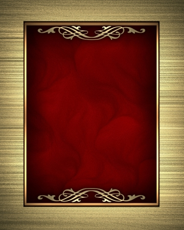 purple metal: Gold frame isolated on red background Stock Photo