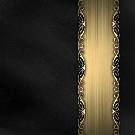 black gold: Pattern on a gold plate on a black background Stock Photo