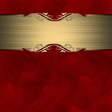 purple metal: Pattern on a gold plate on a Red background