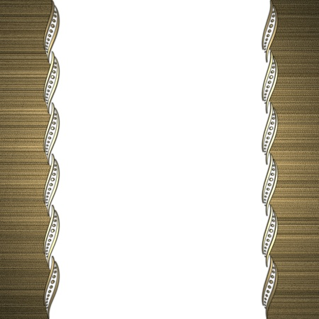 Beautiful pattern on a gold frame on a white background photo