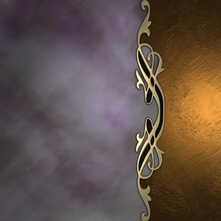 Gold and purple background with a beautiful gold ornament in the middle  Stock Photo - 15242010