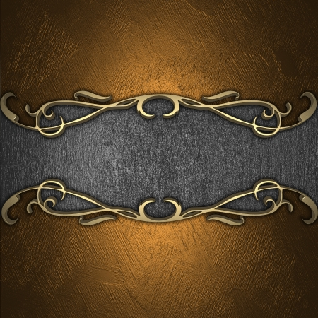 Gold plate on a beautiful wooden background