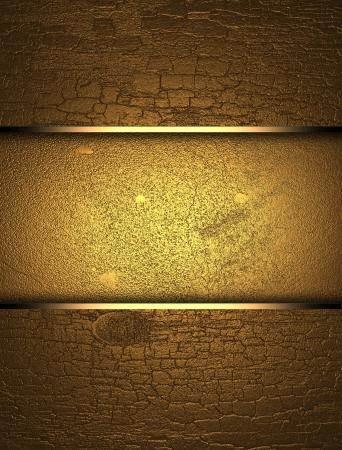 textuur: Gouden houten textuur met gouden naamplaat Stockfoto