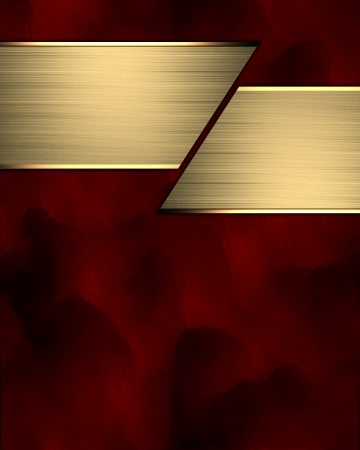 Red background with a gold stripe for text