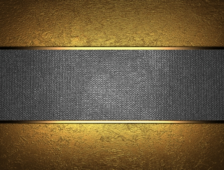 gold border: The template for the inscription  Beautiful gold background with a metal nameplate for writing  Stock Photo