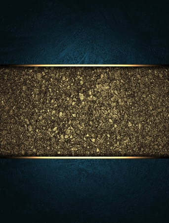The template for the inscription  Blue background with a gold nameplate for writing  with the relief of the sand   photo