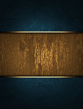 A beautiful blue background with a gold nameplate for the inscription  Stock Photo